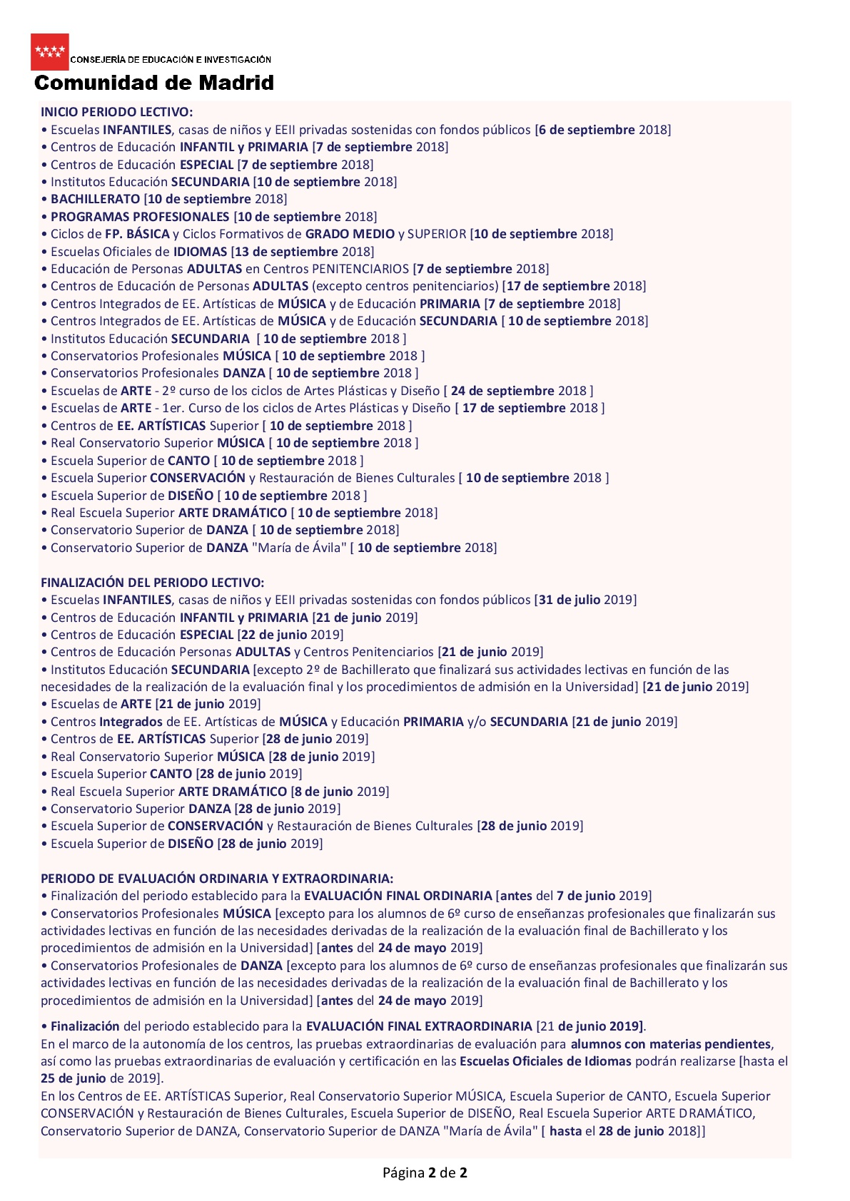 Calendario Escolar 2019 Madrid.Calendario Escolar 2018 19 Padre Piquer