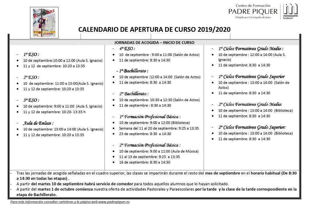 Calendario Deusto.Calendario Apertura De Curso 2019 20 Padre Piquer